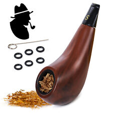 Shiny Durable Short Wooden Mini Tobacco Cigarettes Cigar Smoking Pipe +Stand