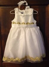Mud Pie Girls 2T White Ivory Gold Tulle Dress NEW NWT