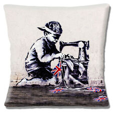 "NEW Banksy Graffiti Artist Child Sewing Flag Bunting 16"" Pillow Cushion Cover"