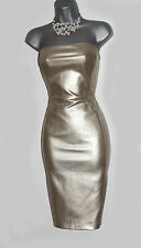 Karen Millen Gold Faux Leather Strapless Bodycon Party Cocktail Dress sz10/38