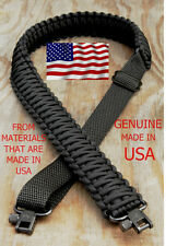 Adjustable Paracord Rifle Gun Sling Strap With Swivels All Black
