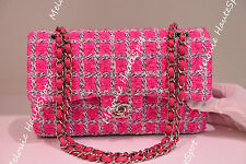 LIMITED NEW CHANEL DOUBLE CLASSIC FLAP M/L MEDIUM LARGE TWEED FUCHSIA PINK BAG