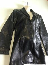 BEBE Womens Soft Genuine Leather Jacket Black Button Down Medium
