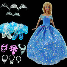 Blue Princess Dress Gown Wedding Oufit Clothes Accessories Shoes For Barbie Doll