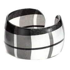 Black and White Tartan Wide Wrist Cuff Bangle - Scottish Bracelet Joe Cool