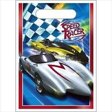 SPEED RACER FAVOR BAGS (8) ~ Birthday Party Supplies Racing Cars Cartoon Blue