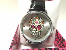 BETSY JOHNSON SUGARL SKULL WATCH, BLACK LEATHER, BJ00496-65 NEW WITH TAGS N BOX