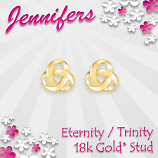 Gold Trinity Stud Earrings 18k Eternity Holy Celtic Knot Studs Earring Jewellery