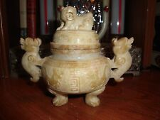 CHINESE DING WARE VESSEL 3 - LEG DRAGON NEPHRITE  JADE BOWL LID FOO DOG FINIAL
