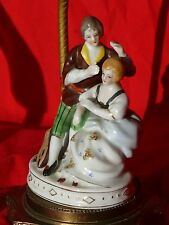 Vintage WW2 Era Meissen Style PORCELAIN FIGURINE TABLE LAMP Minstrel & Lady VG