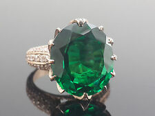 7ct Green Emerald Oval Diamond VS GH 14k Rose Gold Engagement Ring Vintage style