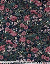 Floral Quilt Fabric -Les Jardins- Pink Flowers on Dk Teal - Hoffman - OOP - BTHY