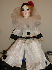 "Vintage Bed/Boudoir doll 27"", W-K-IN marked, Pierrot Clown clone restoration"