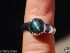 15.5 cts. SHARP CAT'S EYE TOURMALINE IN SOLID STERLING SILVER RING JEW 420