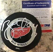 SIGNED OFFICIAL NHL GAME PUCK BRETT HULL DETROIT RED WINGS AUTO PSA/DNA 700 Goal