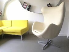 Retro Vintage Cream Faux leather Egg Chair Retro Swivel Armchair Chair Seat