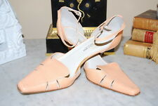 CASUAL CORNER ITALY ORANGE LEATHER ANKLE STRAP MID HEEL WOMEN'S SHOES SIZE  7 M