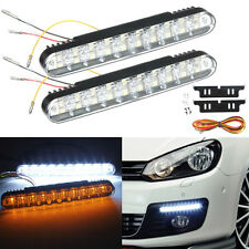 2X 12V 12W 30LED Auto Daytime Running Bulb DRL Daylight Lamp + Turn signal Light