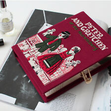 Unique Vintage Drawing Couple of Nuremberg Felt Embroidered Novel Book Clutch