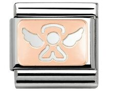 ANGEL Genuine Nomination Classic 9mm Italian Charm Link 9ct Rose Gold Wings Halo