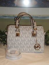 MICHAEL KORS MK GRAYSON MEDIUM SATCHEL VANILLA PVC SIGNATURE BAG TOTE NEW $328
