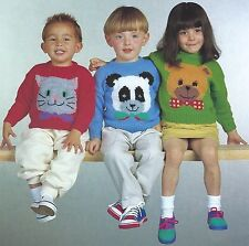 CHILDRENS MOTIF SWEATERS 22/26 KNITTING PATTERNS CAT TEDDY PANDA          ( 23)