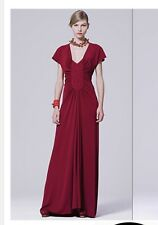 NWT Yves Saint Laurent YSL Red Viscose Silk Woven Floor Length Gown SZ 40 US 8