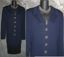 BEAUTIFUL St John collection jacket knit blue suit blazer size XL 12 14