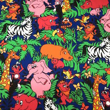 Zoo Animals Print Fabric Cotton Polyester Broadcloth By The Yard 60""