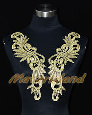 By Pair Gold Flower Venise Lace Applique Trims Motif Embroidery Craft MF19A