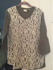 Chicos Zenergy 2 Ladies Gray And Lace Shirt