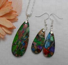 Natural sea sediment jasper gemstone jewellery silver plated necklace earrings