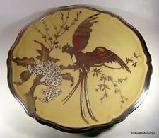 1938 Rosenthal Chippendale Charger Plaque Fine Silver Overlay Lyrebird Parrot