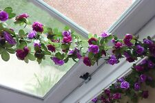"4 x 90"" Artificial Small Flowers Purple Vine Hanging Garland For Wedding Decor"