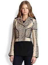 $765 Diane von Furstenberg Theodora Leather-Trimmed Leopard Motorcycle Jacket 4