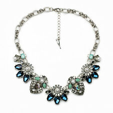 N2210 Silver Jewelry Blue Gems Art Deco Elements Beau Monde Statement Necklace