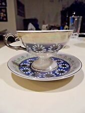 Vintage Footed Tea Cup and Saucer Daisies w/Silver Trim - Royal Sealy