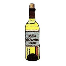 ID 1146 Wine Bottle White Zinfandel Embroidered Iron On Applique Patch