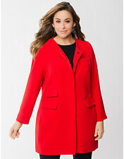 NEW LANE BRYANT PLUS SIZE RED COLLARLESS COAT SZ 14/16