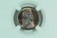 1909 VDB Lincoln Cent NGC MS64 RB Blue Toning