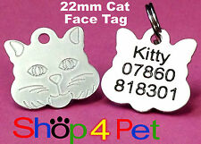 Pet ID Tag 22mm Aluminium Cat Face Tags Engraved Free with Blackened Engraving