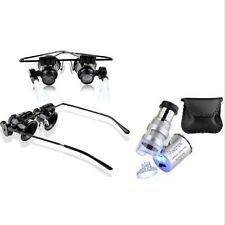 Magnifier+60x Magnifying Eye Glasses Jeweler Jewelry Loupe Loop LED Light F7