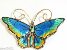 Norwegian Silver & Enamel Butterfly Brooch - David Andersen Norway