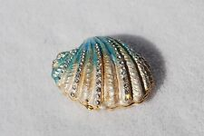 SWAROVSKI CRYSTAL BEJEWELED ENAMELED HINGED TRINKET BOX- BLUE CLAM (SEASHELL)
