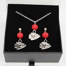 Kansas City Chiefs Jewelry Shamballa Bead Crystal Necklace and Earrings Set