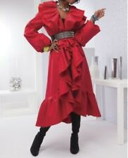 Women's Spring Fall Winter Ruffle trench long coat jacket plus tag XXL&fit 3X 4X