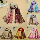 Women Lady Flower Print Scarf Chiffon Soft Wrap Warm Shawl Neck Stole Pashmina