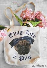 Thug Life Pug Life Dog Puppy Humour Shopping Grocery Reusable Tote Hand Bag TB05