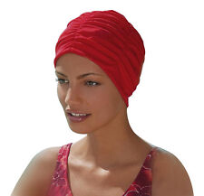 Ladies Swimming Hat Bathing Cap by Fashy Turban Style Red