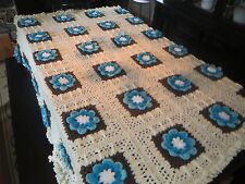 Beautiful Handmade Afghan Crochet Blanket Granny Squares with Teal 3D Flowers